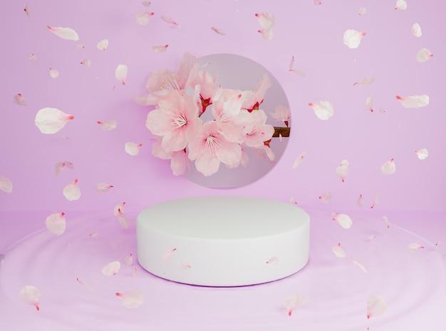 Supporto cilindrico per prodotti con petali di fiori che cadono con un ramo pieno di fiori di ciliegio dietro. rendering 3d