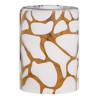 Paralume cilindrico in vetro bianco satinato con motivo dorato indefinito per una lampada elettrica