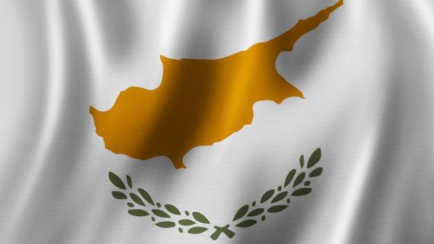 Rendering 3d del primo piano d'ondeggiamento della bandiera di cipro con l'immagine di alta qualità con la struttura del tessuto