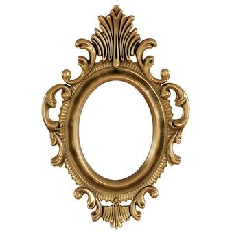 D illustrazione della cornice dorata per la pittura o l'immagine su sfondo bianco