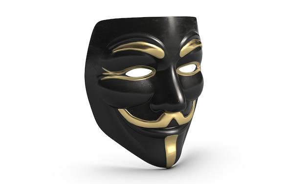 D illustrazione della maschera di vendetta di guy fawkes isolata su white