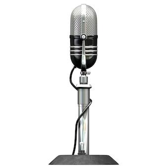 D illustrazione del microfono retrò isolato su sfondo bianco