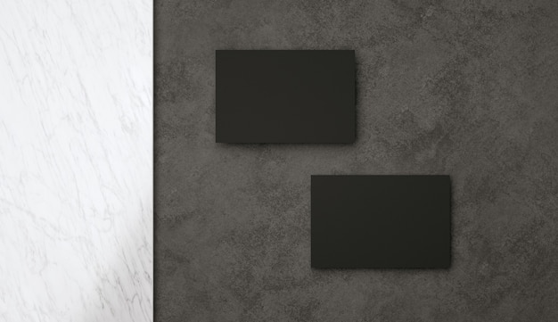 D illustrazione due moderni biglietti da visita neri mockup modello elegante per l'identità del marchio