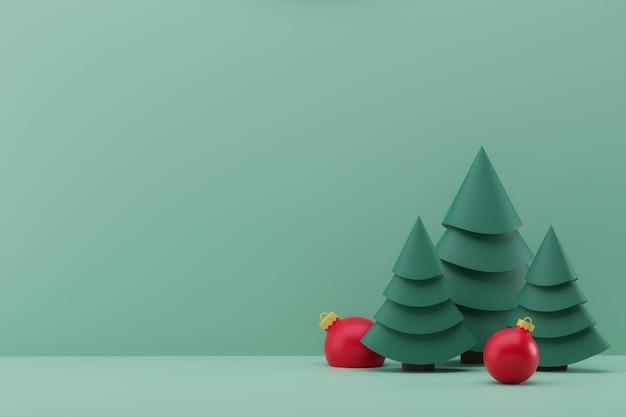 D illustrazione con albero di natale verde decorazione natalizia