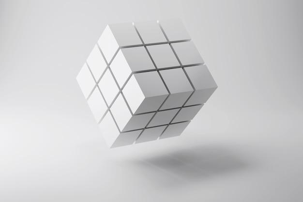 D rendering del cubo fatto di piccoli blocchi concetto astratto di affari di fondo