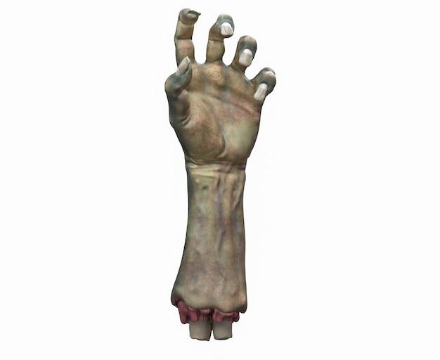 D rendering del tema di halloween della mano di zombie tagliata
