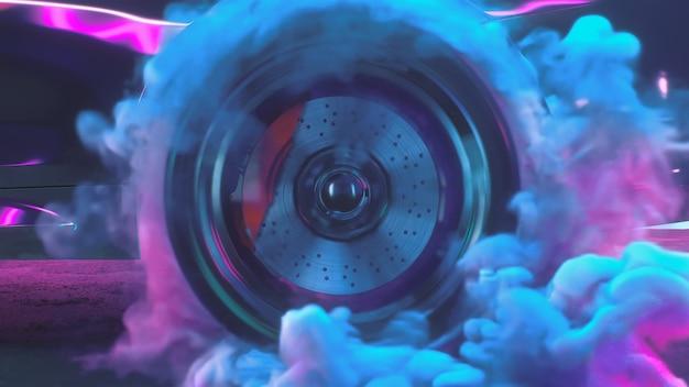 D renderizza le ruote alla deriva con le auto al neon