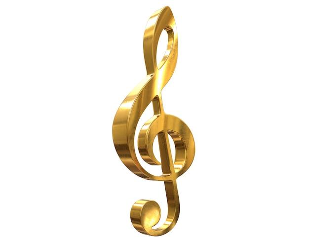 D rendering del simbolo della chiave musicale d'oro isolato su bianco