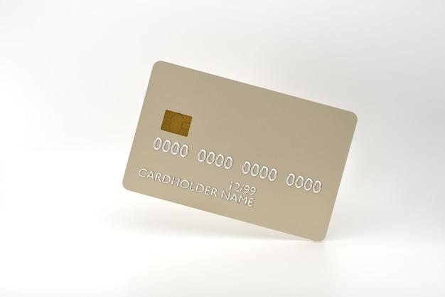 D rendering di carta di credito realistica su sfondo bianco