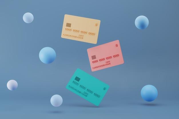 D rendering di carte di credito in plastica realistiche su sfondo blu