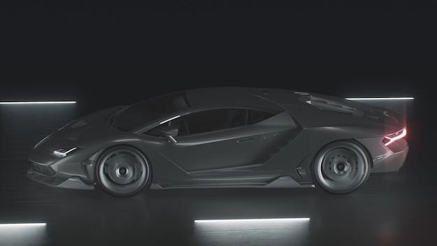 D renderizza un'auto sportiva che guida a tutta velocità su una strada con luci al neon