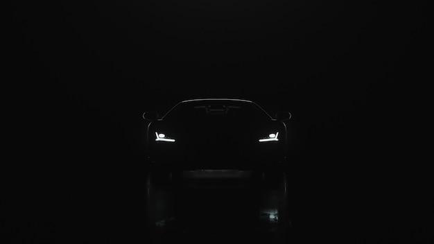 D render l'auto sportiva con le luci va alla telecamera su uno sfondo nero