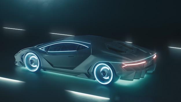 D render sport cyber neon car si precipita sulla strada notturna con luci al neon