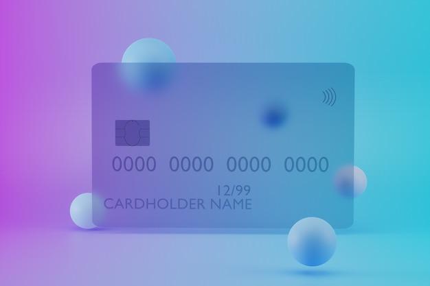 D rendering di carta di credito in vetro trasparente su sfondo colorato