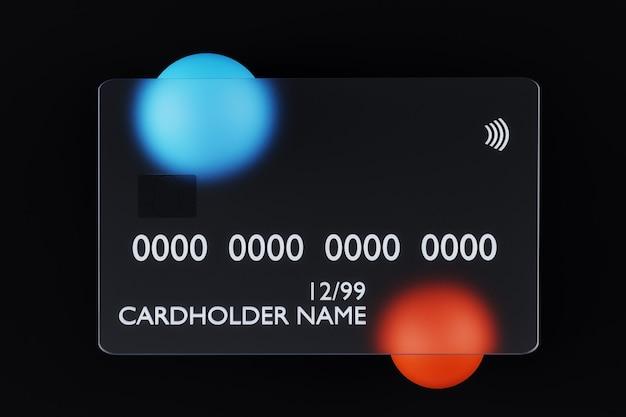 D rendering di carta di credito in vetro trasparente su sfondo scuro