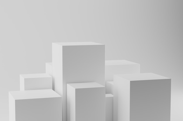 D rendering di cubi geometrici bianchi sfondo astratto