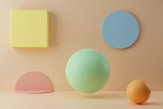 D render con figure geometriche colorate su sfondo pastello stile minimal