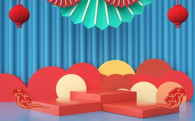 D rendering di sfondo geometrico astratto con decorazioni in stile cinese per la visualizzazione del prodotto