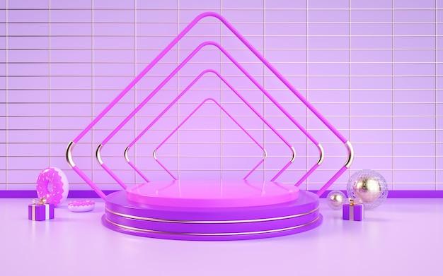 D rendering di sfondo geometrico astratto con un podio rotondo viola per l'esposizione di un prodotto