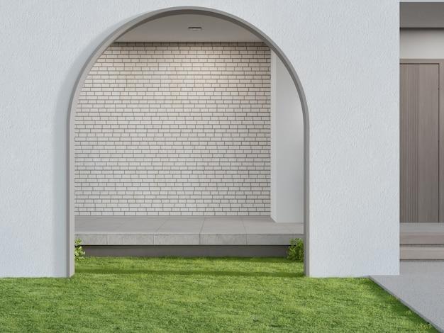 D rendering del cancello ad arco sul prato di erba verde nella casa moderna