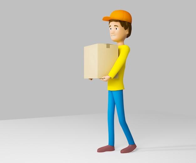 D rendere un uomo in uniforme da un servizio di consegna con una scatola in mano