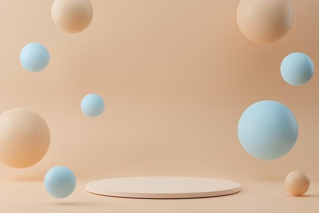 D rendering di podi cerchio bianco su sfondo beige con bolle fkying