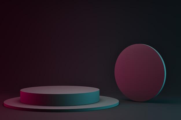 D rendering di podi cerchio bianco su sfondo scuro