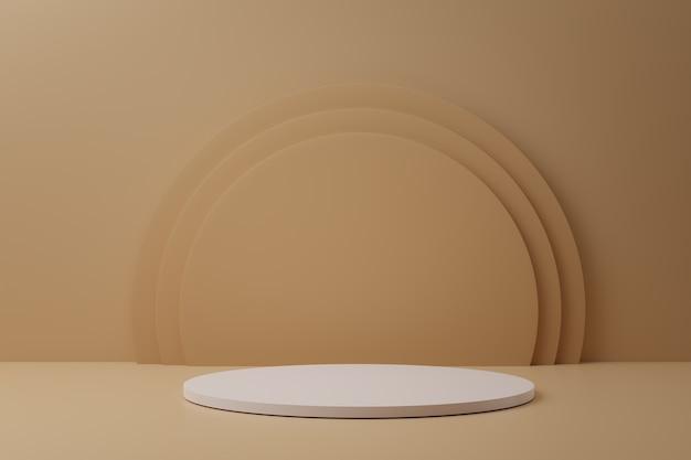D rendering di podi cerchio bianco su sfondo pastello