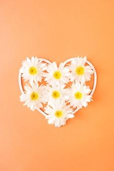 Fiori a margherita in una cornice di cuore su uno sfondo arancione. il concetto di amore e primavera. fiori freschi d'estate