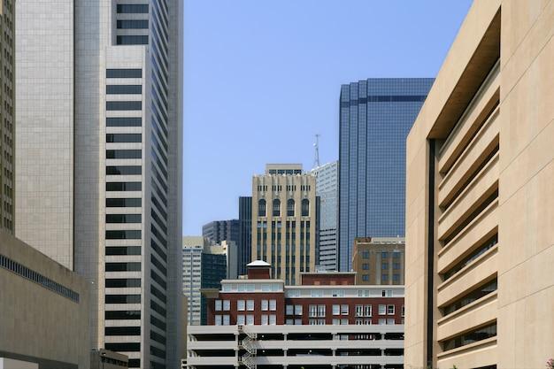 Vista urbana di bulidings della città del centro di dallas