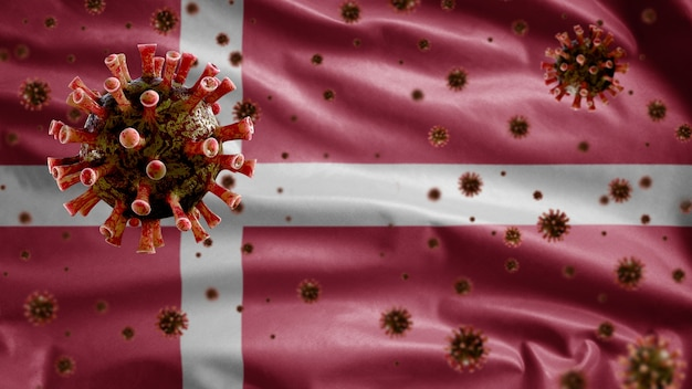 Bandiera sventolante danese e virus del microscopio del coronavirus
