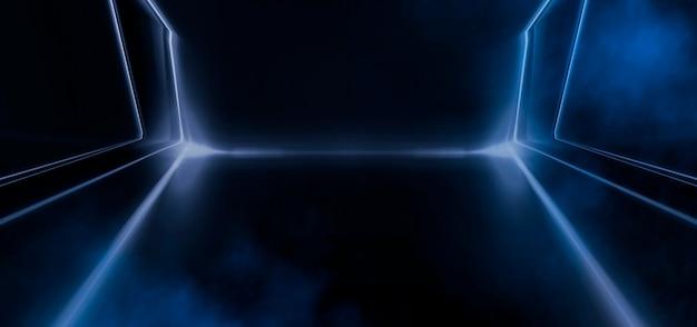 Sfondo futuristico astratto scuro. le linee al neon brillano. linee al neon, forme. luci sfocate. sfondo del palco vuoto. sfondo blu scuro, raggi gialli.