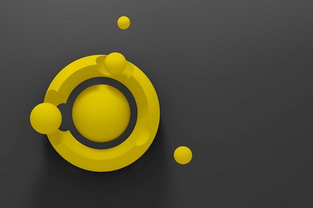 Fondo tridimensionale astratto scuro di molti cerchi gialli con un'esposizione stilizzata del pianeta e dei satelliti su fondo nero.