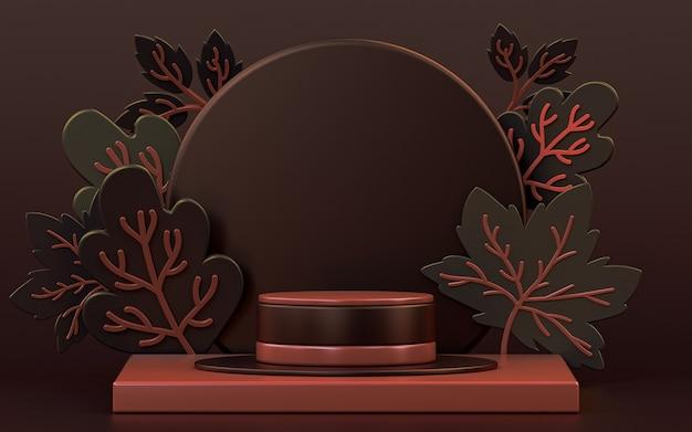 Foglie d'acero autunnali scure sfondo astratto con palco podio per la presentazione del prodotto 3d render