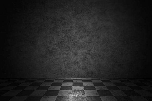 Sfondo scuro, parte dell'interno. muro di cemento con il vecchio pavimento a scacchi. rendering 3d.
