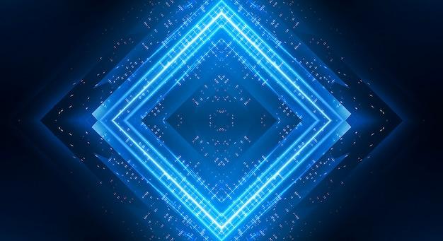 Sfondo scuro con linee e faretti, luce al neon blu, vista notturna