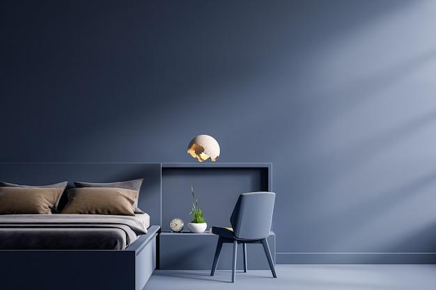 Letto scuro e parete blu scuro del modello nell'interno della camera da letto, rendering 3d