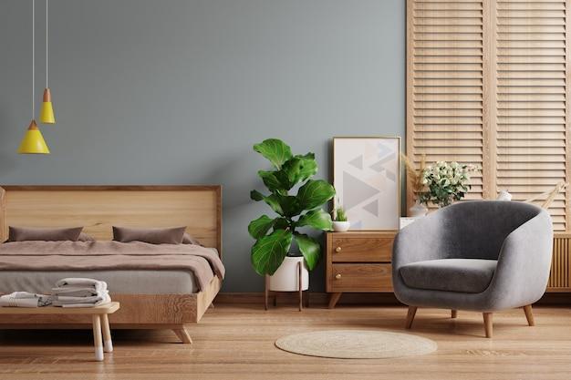Mockup interno camera da letto scura in stile fattoria. rendering 3d