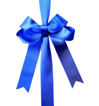 Fiocco di nastro blu scuro isolato su bianco