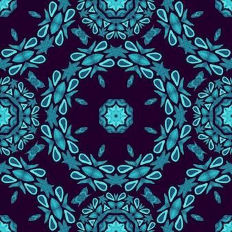 Mandala blu scuro senza cuciture dipinta a mano