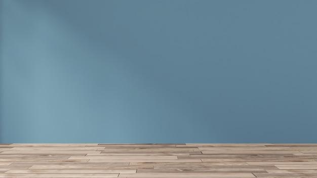 Parete blu scuro in una stanza vuota con pavimento in legno.