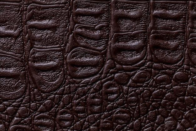 Priorità bassa di cuoio di colore marrone scuro, primo piano