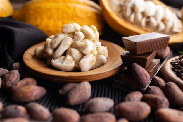 Pezzi di cioccolato fondente schiacciati e fave di cacao, vista dall'alto