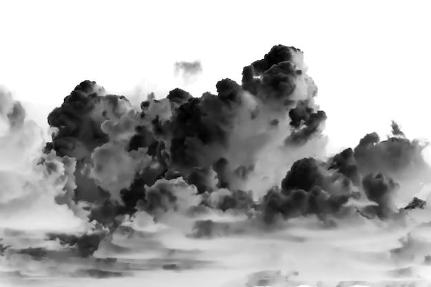 Nuvole scure su sfondo bianco