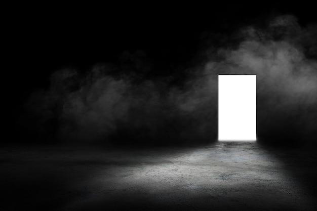 Interni in cemento scuro con porta incandescente e fumo bianco