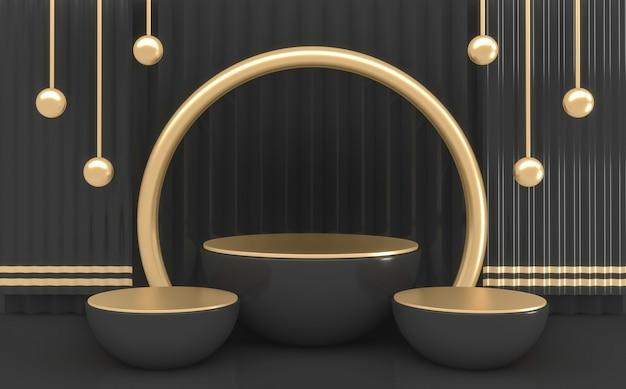 Cilindro scuro a forma di podio minimale rendering 3d di colori nero e oro