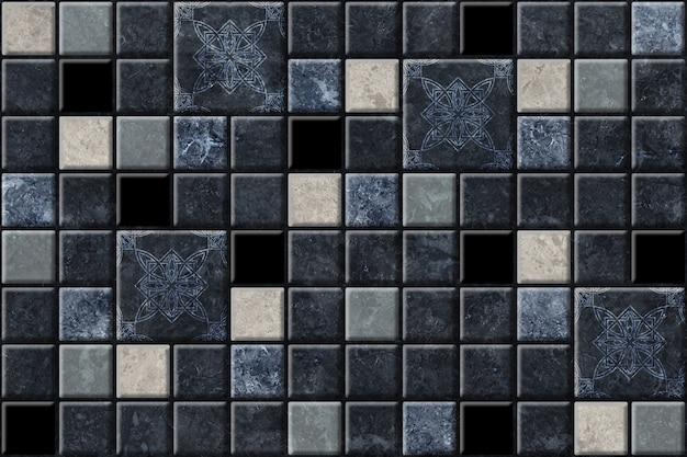 Piastrelle in ceramica decorativa scura con una trama di pietra naturale. trama di sfondo mosaico in marmo