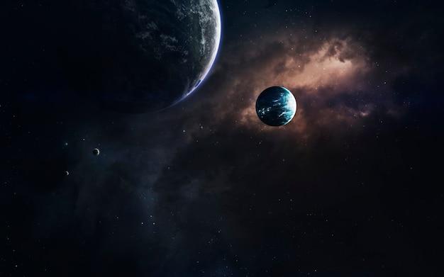 Oscuro spazio profondo con pianeti giganti nello spazio