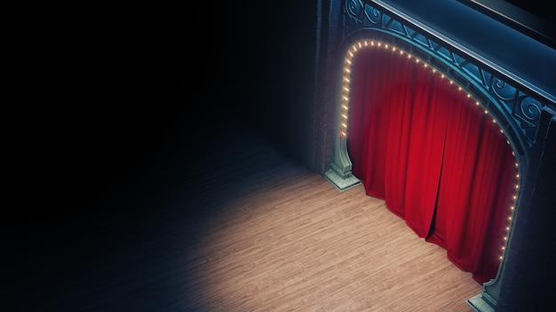 Palco di cabaret o cabaret vuoto scuro con sipario rosso e arco in stile liberty. rendering 3d