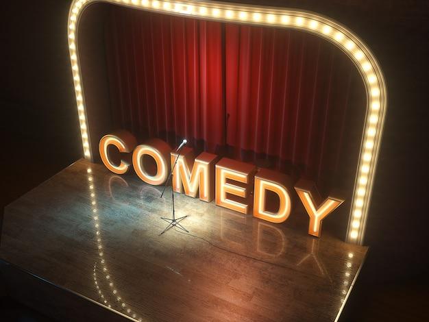 Fase di cabaret commedia vuota oscura. illustrazione 3d